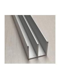 Profilo canalina doppia u in alluminio 20x18