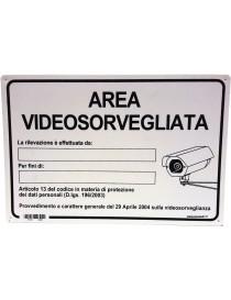 """CARTELLO SEGNALETICO """"AREA VIDEOSORVEGLIATA"""""""